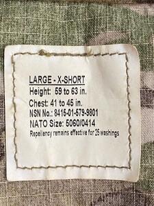 米軍 実物 BDU 上下セット マルチカム L-XSサイズの写真2