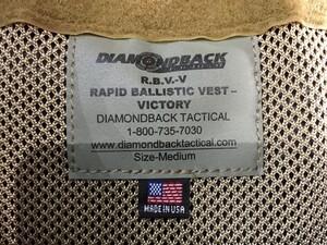 DIAMOND BACK ボディアーマー R.B.V.V コヨーテブラウン Mサイズの写真5