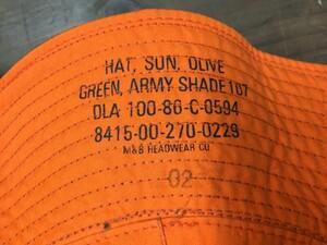 アメリカ軍放出品 サンハット リバーシブル オレンジ/オリーブ 実物 ミリタリーの写真5