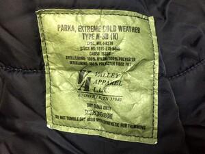 VALLEY APPAREL N-3B 防寒ジャケット ネイビー XLサイズの写真5