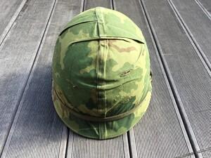 米軍 M1ヘルメット ミッチェルパターンリバーシブルカバー バンド 内帽付き コレクションの写真0