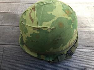 米軍 M1ヘルメット ミッチェルパターンリバーシブルカバー バンド 内帽付き コレクションの写真3