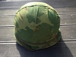 米軍 M1ヘルメット ミッチェルパターンリバーシブルカバー バンド 内帽付き コレクションの写真4