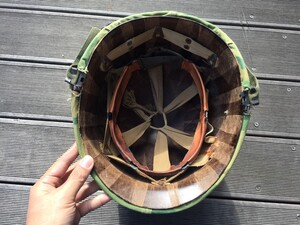 米軍 M1ヘルメット ミッチェルパターンリバーシブルカバー バンド 内帽付き コレクションの写真5